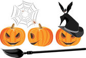 Halloween pumpkins isolated on the white — Stock Vector
