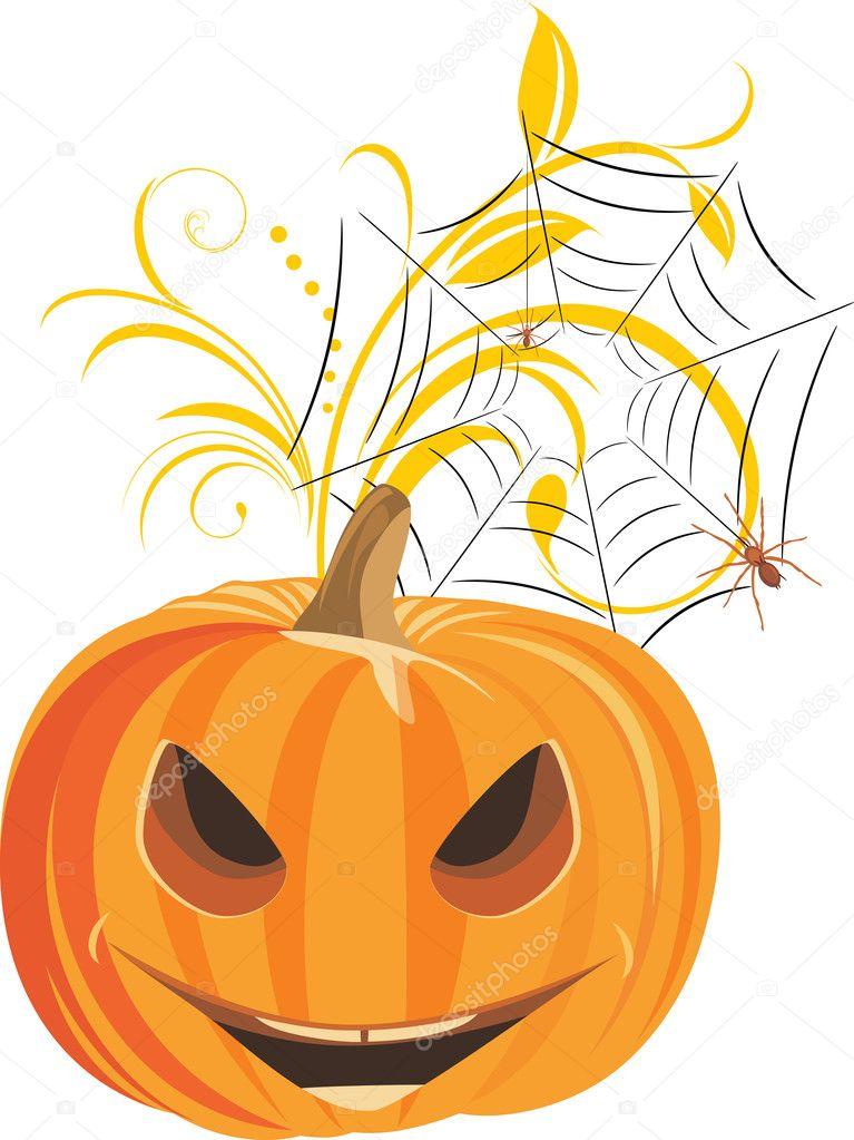 Halloween pumpkin with spiders. Vector illustration — Stock Vector #6971548
