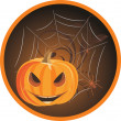 Halloween pumpkin with spiders. Sticker — Stock Vector