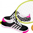 Tennis racket with trainers shoes — Stock Vector