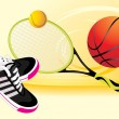 Trainers shoes and tennis racket with balls. Sporting banner - Stock Vector