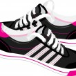 Pair of black sneakers - Stock Vector