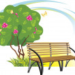 Wooden bench and flowering tree. Spring concept — Stock Vector