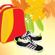 Pair of sneakers and backpack on the autumn background - Stock Vector