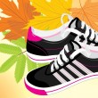 Pair of black sneakers on the autumn background - Stock Vector