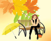 Sitting woman with umbrella on the wooden bench on the autumn background — Stock Vector