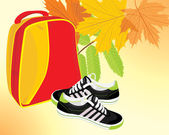 Pair of sneakers and backpack on the autumn background — Stock Vector