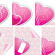 Stock Vector: Decorative hearts. Elements for design of Valentines cards