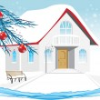 Winter house. Composition for Christmas card — Векторная иллюстрация