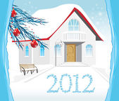 Winter house. Christmas card — Vector de stock