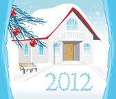 Winter house. Christmas card — Stock Vector