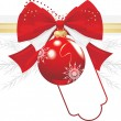 Red Christmas ball with bow and tinsel. Festive border — Stock vektor