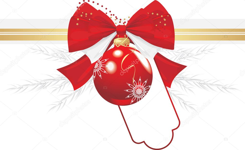 Red Christmas ball with bow and tinsel. Festive border. Vector illustration — Stock Vector #7187558