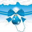 Royalty-Free Stock Vector Image: Blue Christmas ball with bow and tinsel. Festive card