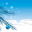 Blue balls with Christmas tinsel. Background for card - Stock Vector