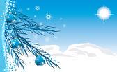 Modré kuličky s vánoční pozlátko. pozadí pro kartu — Stock vektor