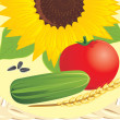 Stock Vector: Sunflower with pips, tomato, cucumber and wheat ear on wattled napkin