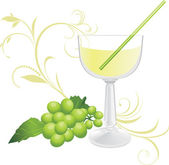 Glass with cocktail and sprig of green grape — Stock Vector