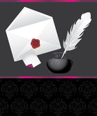 Feather, inks and envelope with wax seal. Decorative banner — 图库矢量图片