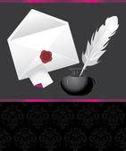 Pluma, tintas y envolvente con sello de cera. banner decorativo — Vector de stock