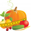 Vegetables and fruits with measuring tape — Stock Vector #7480985