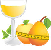 Glass with juice, fruits and measuring tape — Stock Vector