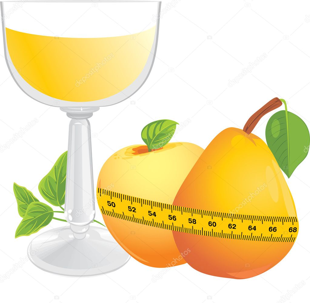 Glass with juice, fruits and measuring tape. Vector illustration  Stock Vector #7480990