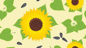 Sunflowers and pips. Decorative background — Stock Vector