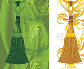 Green and golden tassel on the decorative background — Stock Vector