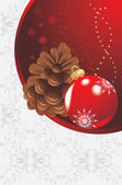 Red Christmas ball and pinecone on the decorative background — Stockvector