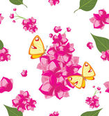 Decorative background with pink flowers and butterflies — Stock Vector
