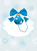 Frame with blue Christmas ball and bow. Festive card — Vecteur