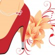 Elegant red female shoes with lilies — Stock Vector