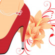 Elegant red female shoes with lilies — Vettoriali Stock