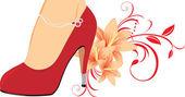 Eleganta röda kvinnligt skor med liljor — Stockvektor