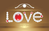 Love. Inscription with strasses on the decorative background — Stock Vector