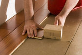 Install a wood floor — Stock Photo