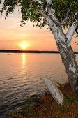 September's lake sunset — Foto Stock