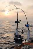 Trolling fishing at sunset — Stock Photo