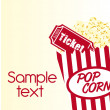 Pop corn with ticket — Imagen vectorial