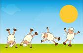 Handstand sheep — Stock Vector