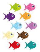 Fish cartoon — Vector de stock