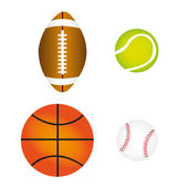 Sports balls, vector — Stock Vector