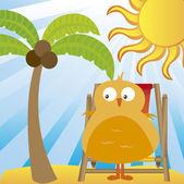 Pájaro en la playa — Vector de stock