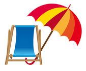 Chair beach and umbrella — Stock Vector