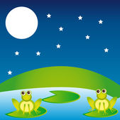 Landscape with frogs — Stock Vector