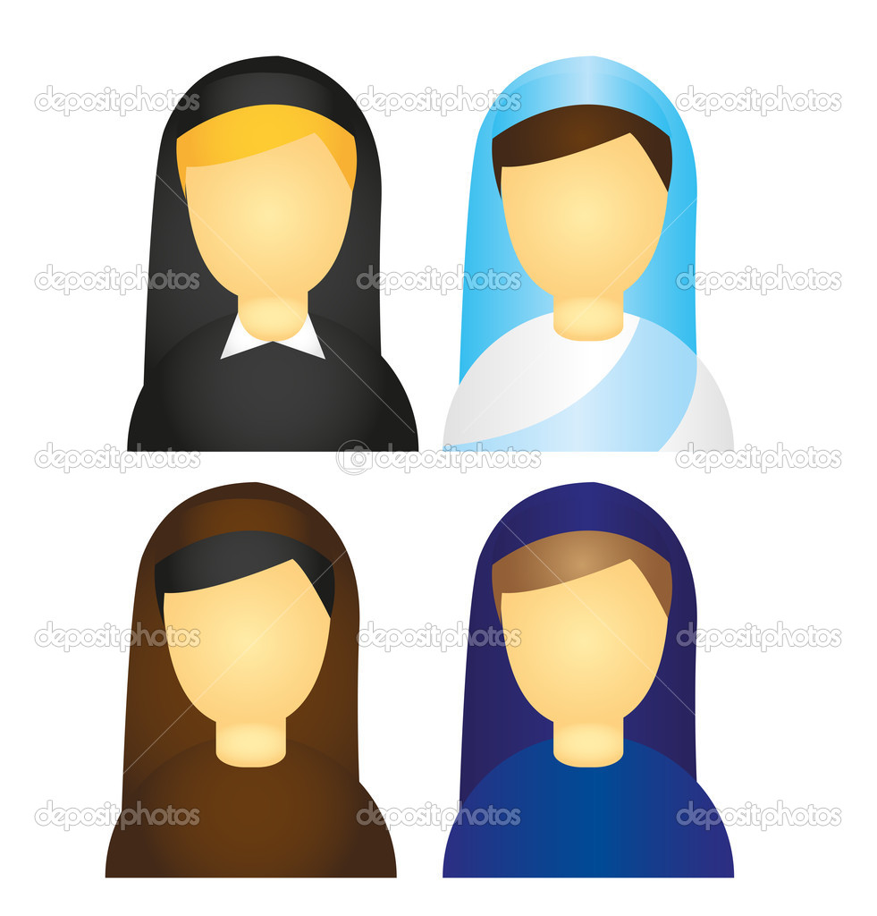 Nun icons isolated over white background. vector  Stock Vector #7094812