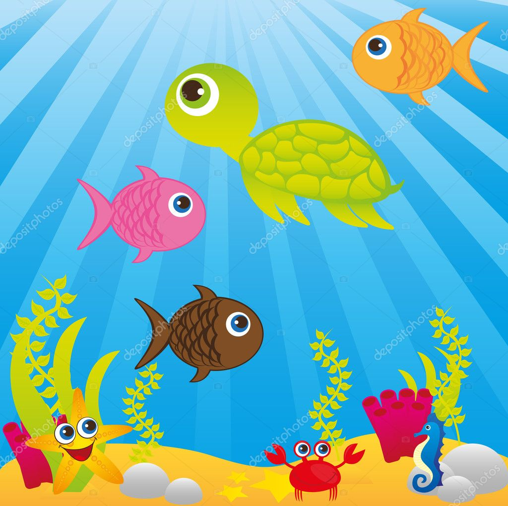Sea with animals cartoons over blue background. vector — Stock Vector #7095471