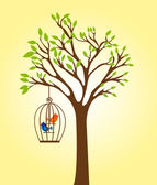 Tree with cage — Stock Vector