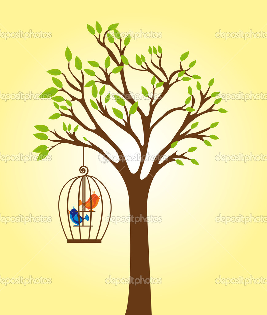 Green and brown tree with cage with orange and blue birds over yellow background. vector — Stock Vector #7106316